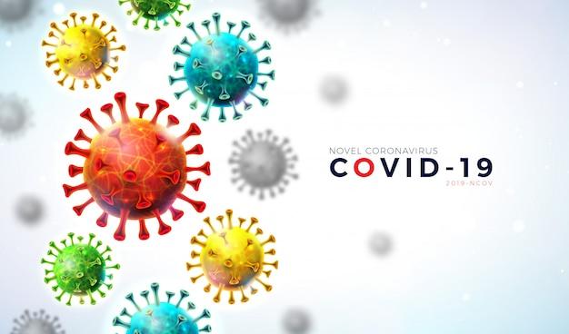 Covid19. progettazione dell'epidemia di coronavirus con cellule di virus in caduta e lettera di tipografia su sfondo chiaro.