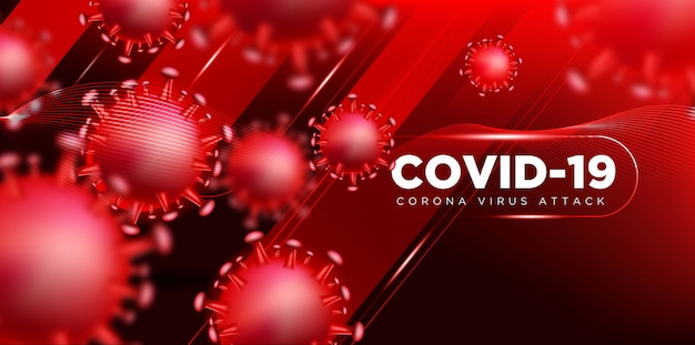 Covon coronavirus nel concetto di illustrazione 3d reale per descrivere l'attacco di corona virus