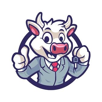 Cow business in emblem mascot design