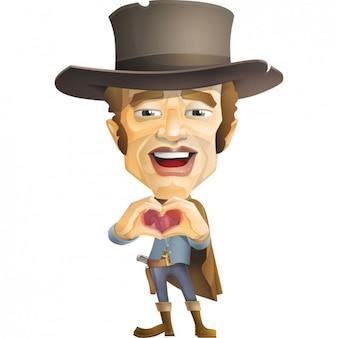 Cowboy che fa un cuore con le sue mani