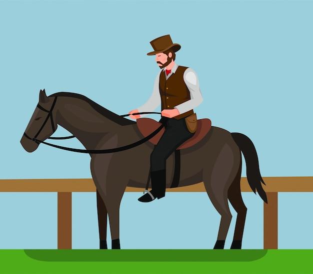Cowboy che monta progettazione dell'illustrazione di concetto del cavallo nero
