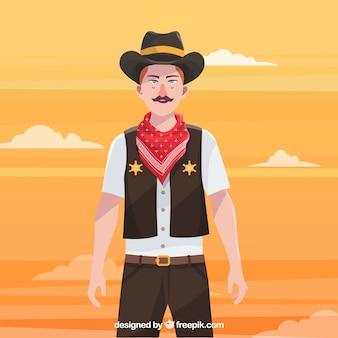 Cowboy con cappello e sciarpa