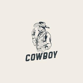 Cowboy con un modello di logo di tazza di caffè