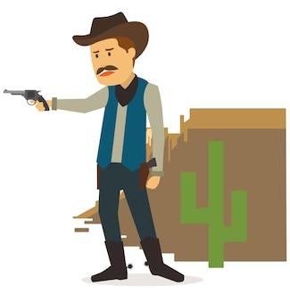 Cowboy nel deserto sta guardando il nemico