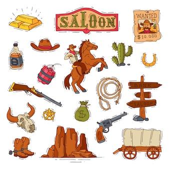 Cowboy o sceriffo occidentale del selvaggio west nel deserto della fauna selvatica con l'illustrazione del cactus carattere selvaggiamente in cappello con la pistola sull'insieme del rodeo isolato