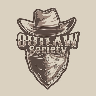 Cowboy outlaw illustration theme