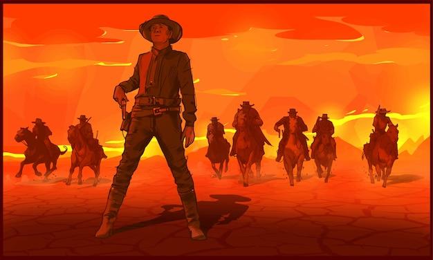 Cowboys cavalcando cavalli