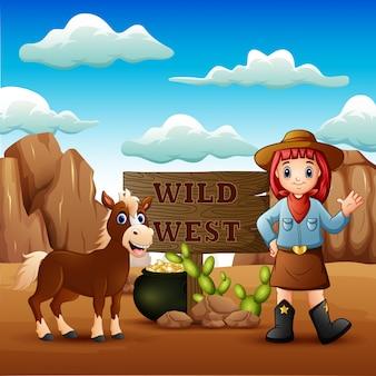 Cowgirl selvaggio west paesaggio con cavallo