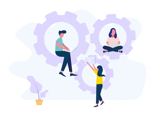 Coworking con discussione di persone creative in ufficio. squadra di affari che lavora insieme utilizzando i computer portatili. illustrazione stile piatto
