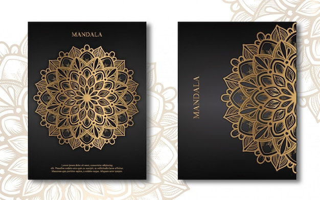 Crad di lusso mandala business e libro di copertina