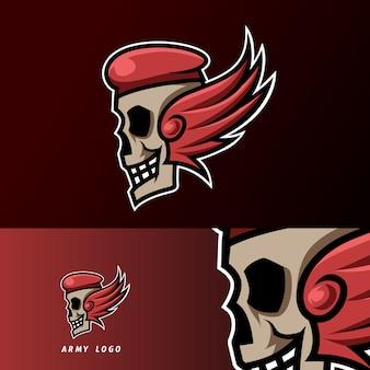 Cranio cappello esercito ali mascotte sport gioco esport logo modello per club squadra squadra streamer