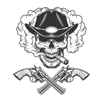 Cranio che fuma sigaro in cappello da sceriffo