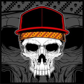Cranio che indossa cappello e bandana vettoriale