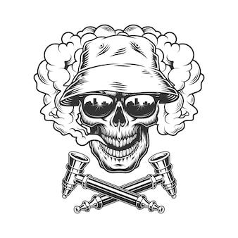 Cranio che indossa cappello panama e occhiali da sole