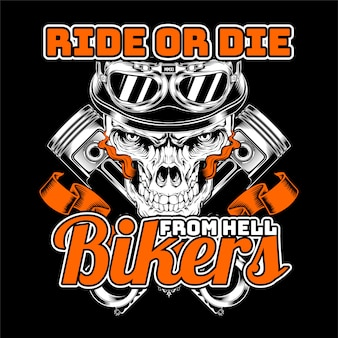 Cranio che indossa il casco, i motociclisti dal tallone disegno a mano