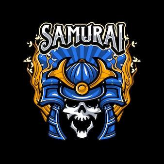 Cranio che indossa l'illustrazione del casco del samurai