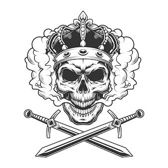 Cranio che indossa la corona nella nuvola di fumo