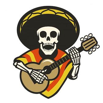 Cranio che indossa sombrero a suonare la chitarra