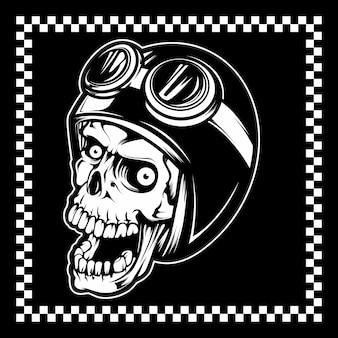 Cranio che indossa un casco e occhiali
