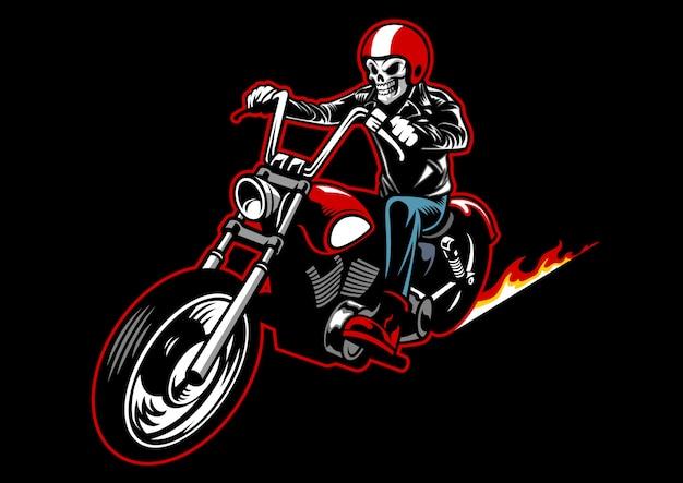 Cranio che indossa una giacca di pelle e guida una moto