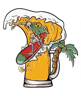 Cranio che pratica il surfing sull'illustrazione dell'onda della birra