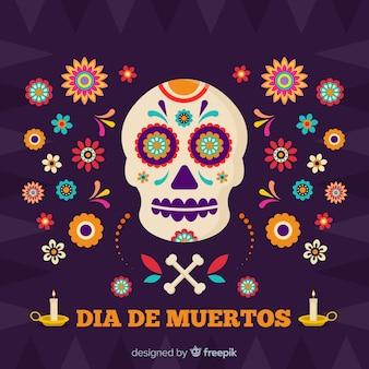 Cranio circondato da fiori día de muertos sfondo