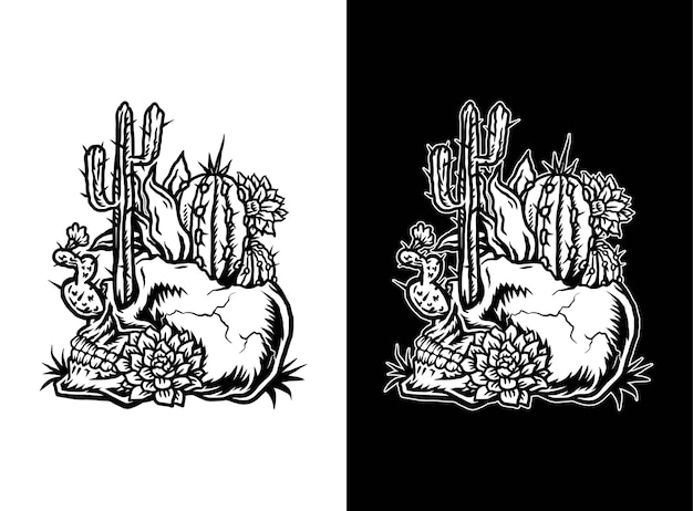 Cranio con cactus, illustrazione di arte linea disegnata a mano, isolato su sfondo scuro e luminoso