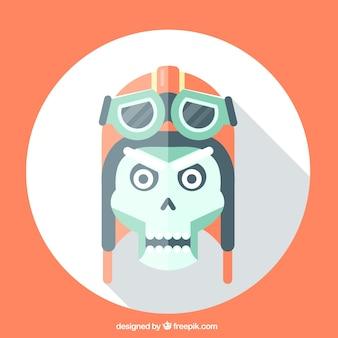Cranio con casco pilota nel design piatto