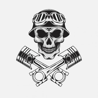 Cranio con elmo vintage con pistone
