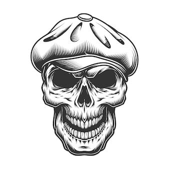 Cranio con il cappello di tweed