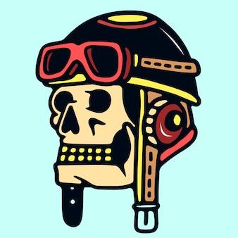 Cranio con il retro casco pilota old school tattoo illustration