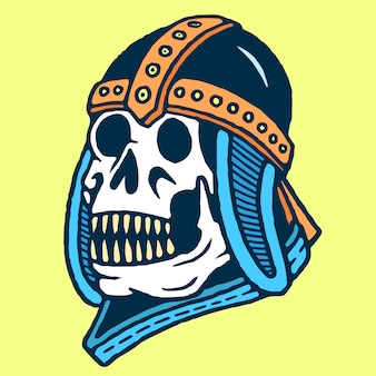 Cranio con il vettore del tatuaggio della vecchia scuola del casco di vecchia guerra