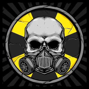 Cranio con maschera antigas e bio segno di pericolo sullo sfondo