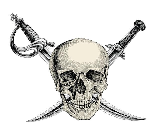 Cranio con spade incrociate, simbolo del pirata, logo mano disegno stile vintage isolare su sfondo bianco