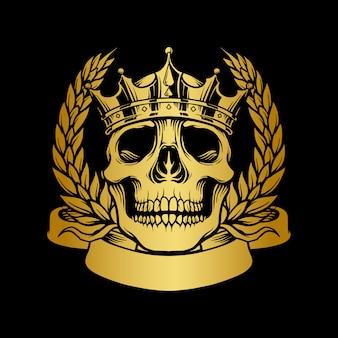 Cranio corona d'oro con illustrazioni di nastro
