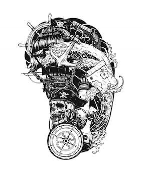 Cranio del pirata con il disegno di vettore del tatuaggio della nave a mano.