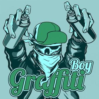 Cranio del ragazzo dei graffiti che indossa cappello e bandana che maneggiano la vernice spray