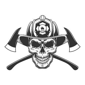 Cranio del vigile del fuoco vintage nel casco pompiere