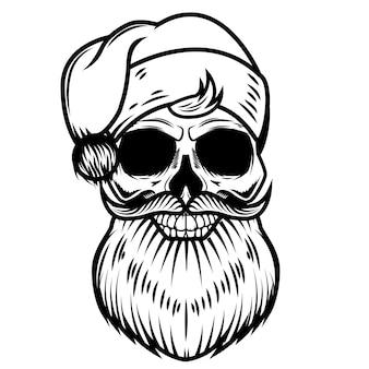Cranio di babbo natale su sfondo bianco. elemento per logo, etichetta, emblema, segno. illustrazione
