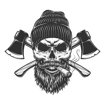 Cranio di boscaiolo vintage in cappello a cuffia