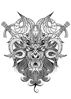 Cranio di capra con tecnica grafica a inchiostro