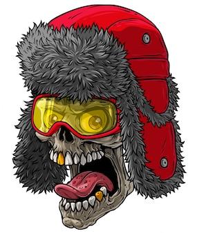 Cranio di cartone animato in cappello di pelliccia invernale con paraorecchie