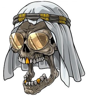 Cranio di cartone animato in sciarpa araba kefiah e bicchieri