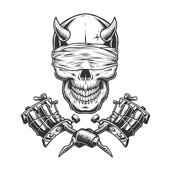 Cranio di demone vintage monocromatico