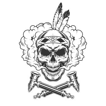 Cranio di guerriero indiano nativo con piume