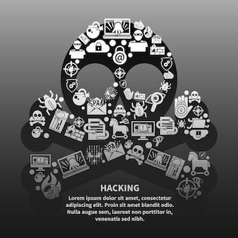 Cranio di hacker con modello di testo