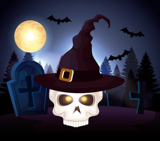 Cranio di halloween con cappello strega nel cimitero
