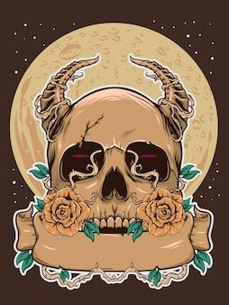Cranio di halloween con illustrazione di luna scura