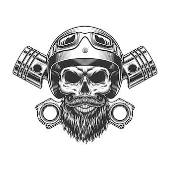 Cranio di motociclista barbuto e baffuto
