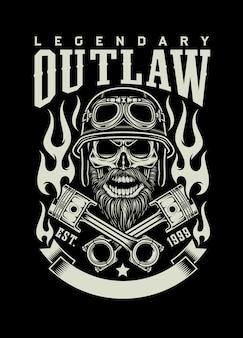 Cranio di motociclista barbuto vintage con emblema di pistoni incrociati